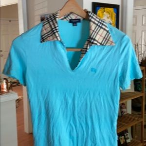 Burberry baby blue tee size large